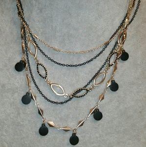 Banana Republic Gold & Black Multi-Strand Necklace